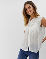 Naf Naf Sleeveles Laced Shirt White