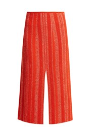 Proenza Schouler Textured Knit Midi Skirt Red White