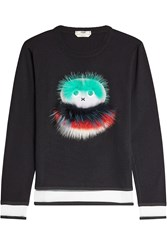 Fendi Wool Sweatshirt With Fur