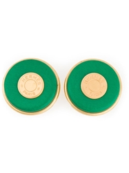 Hermes Vintage Logo Earrings Green