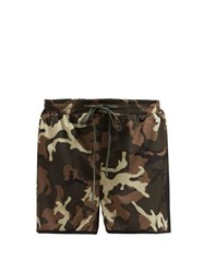 The Upside Camouflage Print Running Shorts Green Multi