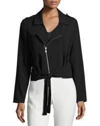 Laundry By Shelli Segal Tie Front Crepe Jacket Black