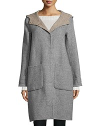 Eileen Fisher Alpaca Double Face Knee Length Coat Petite Women's Moon