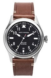 Men's Jack Mason Brand 'Aviation' Leather Strap Watch 42Mm
