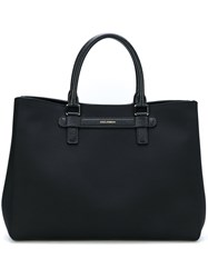 Dolce And Gabbana Embossed Logo Tote Bag Leather Nylon Black