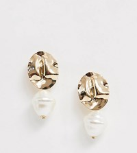 Accessorize Hammered Gold Pearl Tierred Earrings