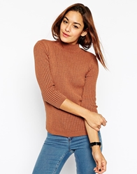 Asos Turtle Neck Jumper In Rib Toffee