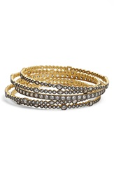Freida Rothman 'Visionary' Stackable Bangles Set Of 5 Gold Gunmetal Clear