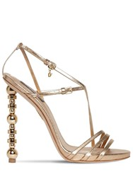 Dsquared 120Mm Metallic Leather Sandals Gold