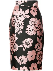 Milly Floral Print Skirt Pink Purple