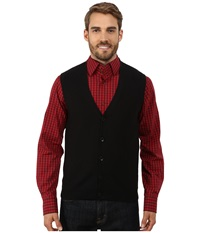 Perry Ellis Cotton Blend Solid Sweater Vest Black Men's Vest