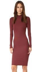 Atm Anthony Thomas Melillo Long Sleeve Mock Neck Dress Rust