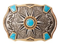 Mandf Western Crumrine Turquoise Stone Buckle Silver Gold Copper Belts
