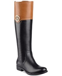 Tommy Hilfiger Silvana Wide Calf Riding Boots Women's Shoes Black Multi