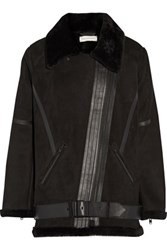 Rebecca Minkoff Midnighter Leather Trimmed Shearling Coat Black