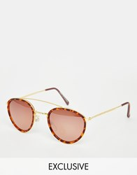 Hindsight Vintage Timms Round Sunglasses With Metal Bar Tort Lightly Mirrore Brown