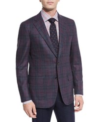 Isaia Large Plaid Wool Two Button Jacket Burgundy Blue Red