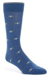 Lorenzo Uomo Skull And Bones Crew Socks Denim