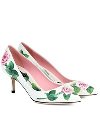 Dolce And Gabbana Floral Leather Pumps White