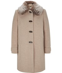 Cc Petite Fur Trim Wool Duffle Coat Beige