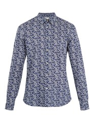 Paul Smith Single Cuff Floral Print Cotton Shirt Navy Multi