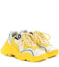 N 21 Billy Leather And Mesh Sneakers Yellow