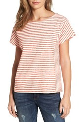 Caslonr Women's Caslon Stripe Tie Back Tee Ivory Red Stripe