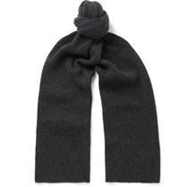 William Lockie Ribbed Cashmere Scarf Charcoal