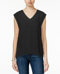 Bar Iii Illusion Cap Sleeve Top Only At Macy's Deep Black