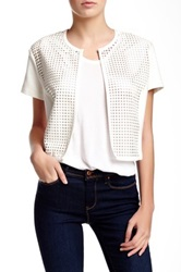 Grayse Perforated Faux Leather Cropped Jacket White