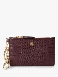 Ralph Lauren Elmswood Croc Effect Leather Coin Card Purse Bordeaux