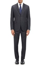 Barneys New York Fine Striped Two Button Suit Black Size 40 Regular