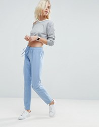 Asos Skinny Marl Track Pants With Zip Sides Blue Multi