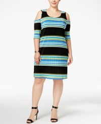 Ny Collection Plus Size Striped Cold Shoulder Bodycon Dress Azure Holly