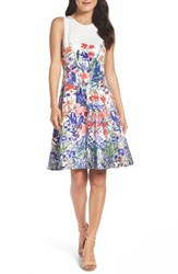 Maggy London Women's Cottage Garden Fit And Flare Dress Soft White Coral Purple