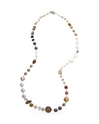 Stephen Dweck Multi Stone And Peacock Pearl Necklace