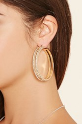 Forever 21 Rhinestone Cutout Hoop Earrings