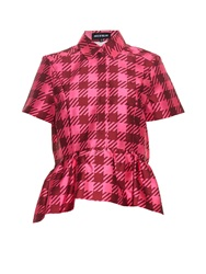 House Of Holland Gingham Check Twill Peplum Top