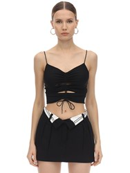 Alexander Wang Wrapped Crepe And Jersey Top Black