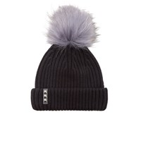 Bklyn Women's Merino Wool Hat With Dark Grey Pom Pom Black