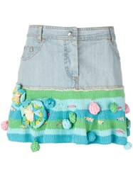 Christian Dior Vintage Short Denim And Knit Skirt Blue