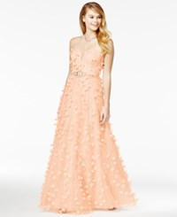 Say Yes To The Prom Juniors' Strapless Floral Applique Gown A Macy's Exclusive Pink