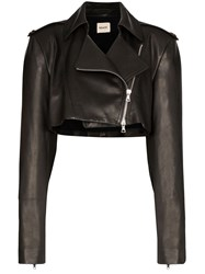 Khaite Eduarda Cropped Leather Jacket Black