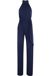 Michael Kors Collection Stretch Crepe Jumpsuit Navy