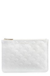 Estella Bartlett Medium Embossed Faux Leather Pouch Ivory