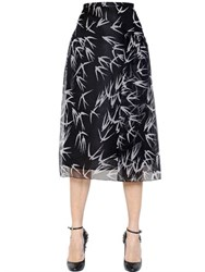 Rochas Swallows Printed Silk Organza Skirt