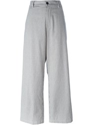 Barena Pinstripe Wide Leg Trousers White