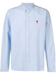 Ami Alexandre Mattiussi Button Down Shirt De Coeur Chest Patch Blue