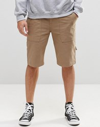 Asos Slim Longer Length Shorts With Worker Tab Details In Stone Light Stone