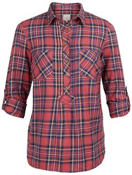 Fat Face Maisy Popover Check Shirt Redwood